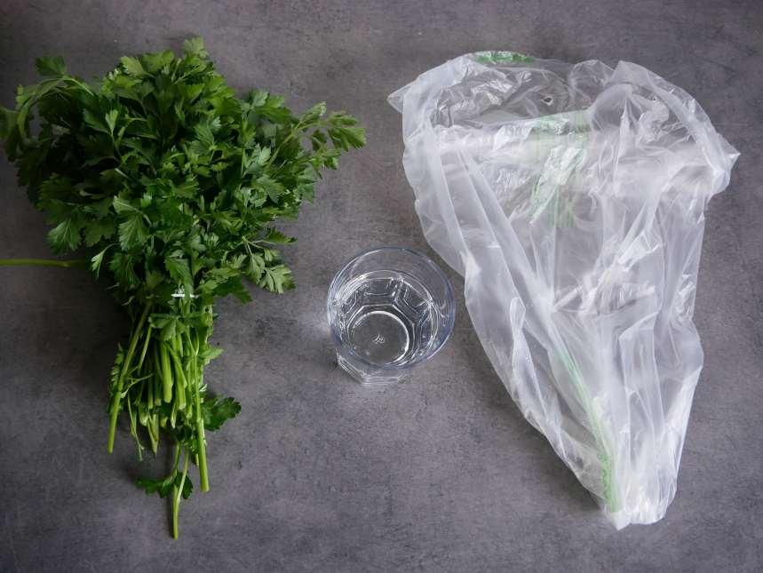 Un sac compostable, un verre et les herbes aromatiques seront conservées pour un mois au frigo