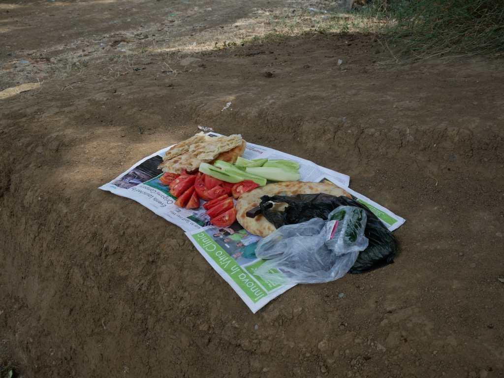 Pique-nique improvisé par notre chauffeur au bord des champs : du concombre, des tomates, leur bon pain et du vin maison bien sûr !