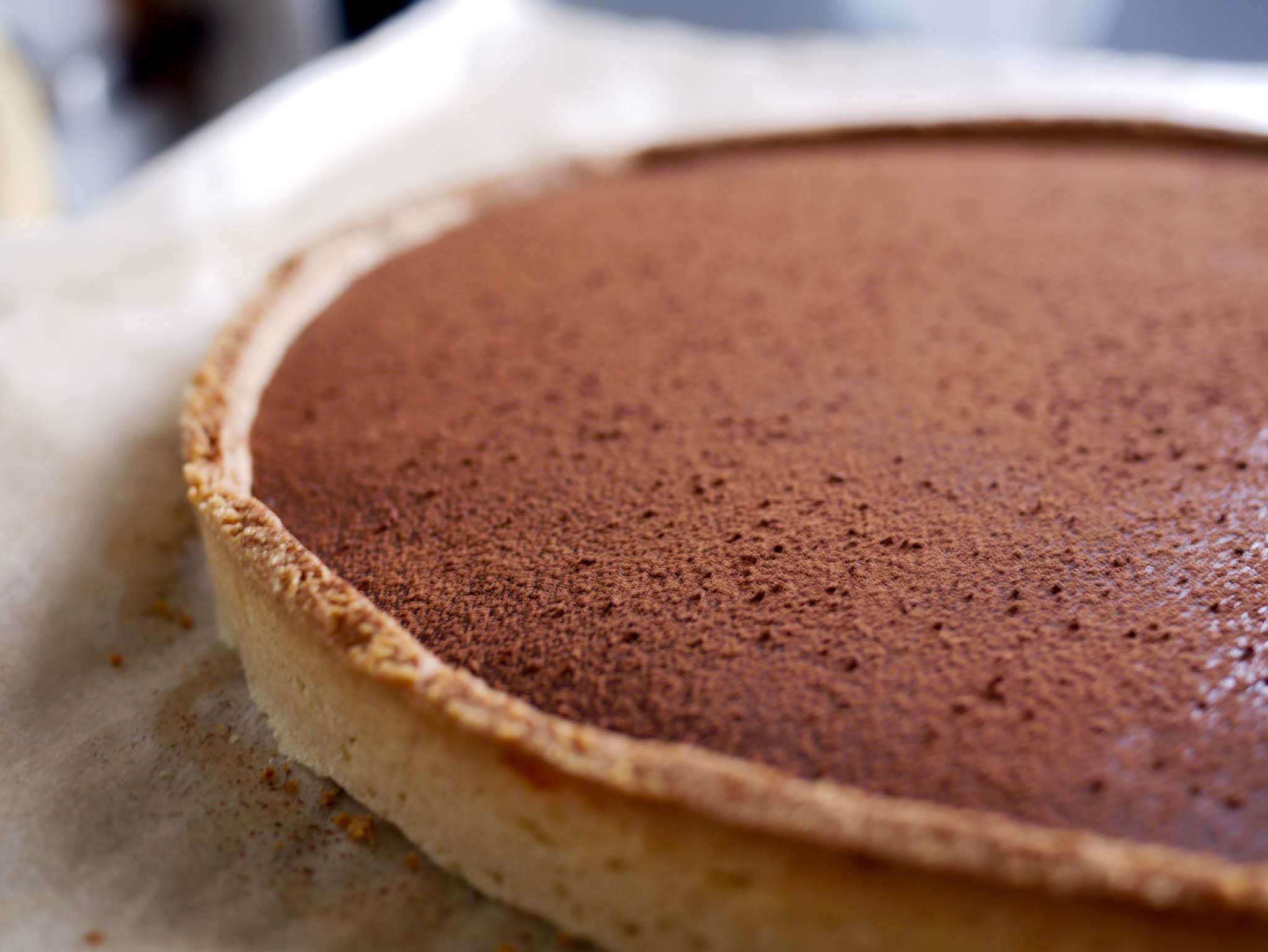 Gros plan sur la tarte chocolat