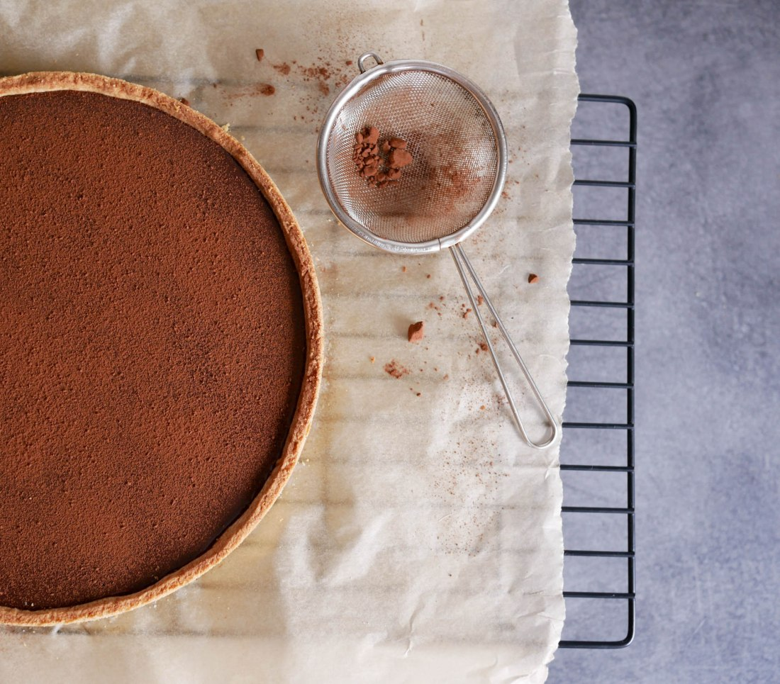Vue du dessus de la tarte au chocolat