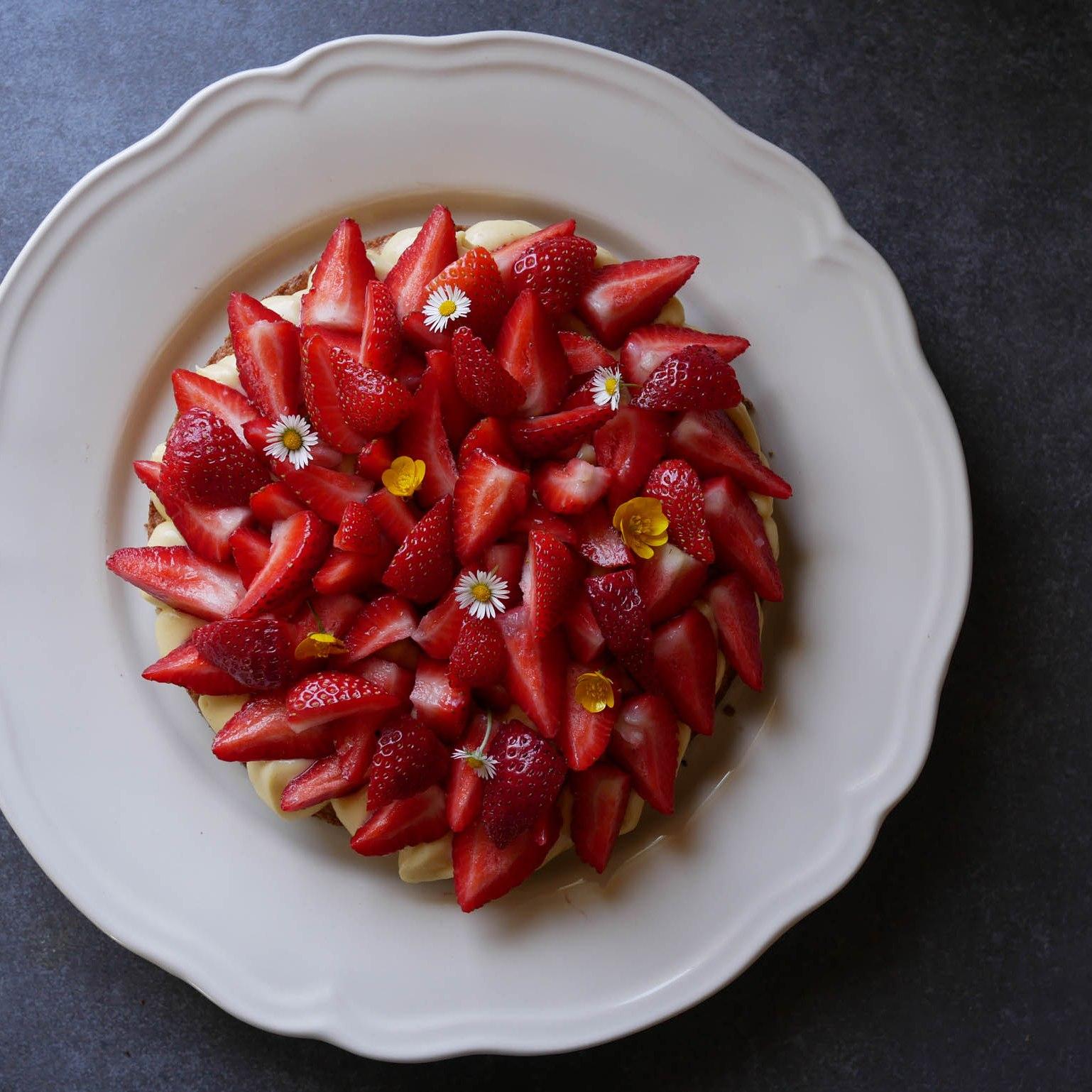 Tarte aux fraises vue du dessus