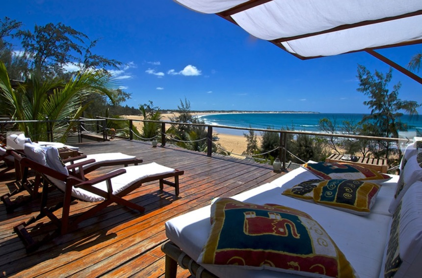 Baie Sonambula à Tofo au Mozambique, un petit hôtel face à l'océan Indien