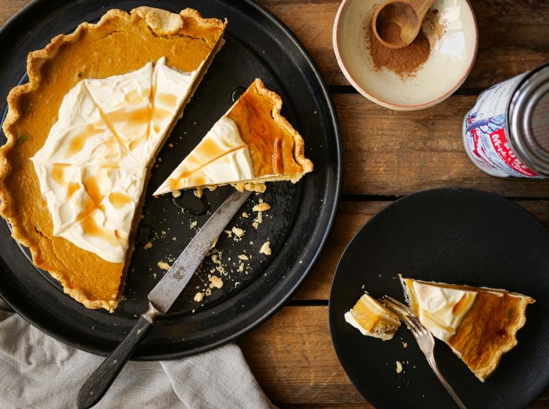 Le goûter vu du dessus ! Pumpkin pie avec sirop d'érable et épices